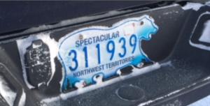 ノースウェスト準州のシロクマ型のナンバープレート